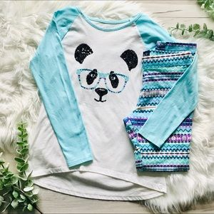 Girls High/Low Sequins tee and Leggings set